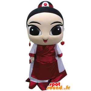 Mascotte de femme asiatique, habillée en tenue traditionnelle