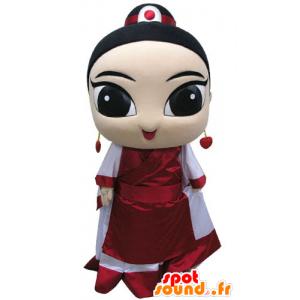 Asiatisk kvindemaskot, klædt i traditionel påklædning -