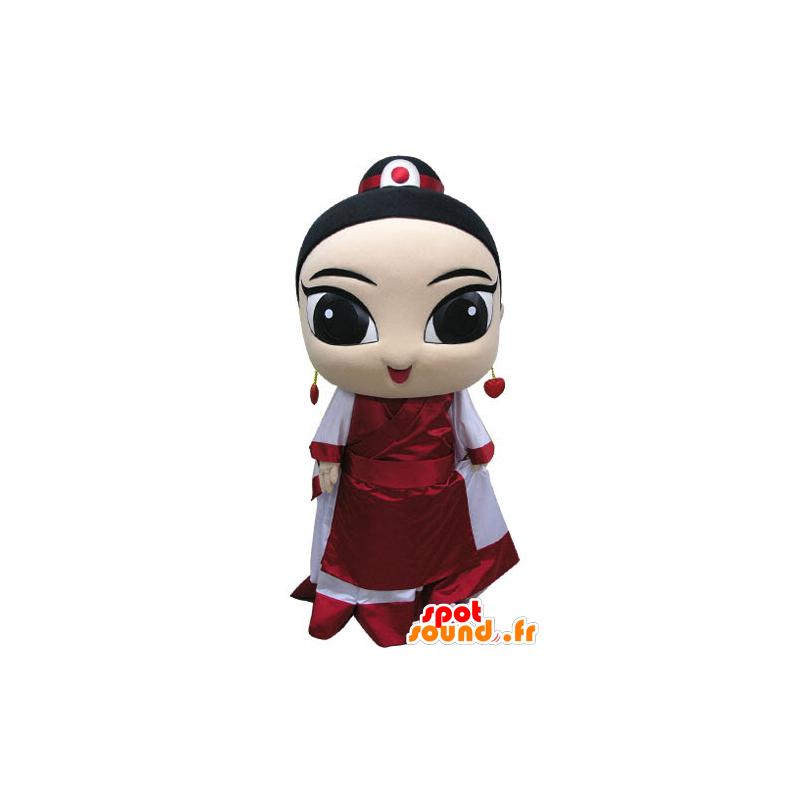 Asiatisk kvinnamaskot, klädd i traditionell klädsel - Spotsound