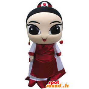 Mascot Asian woman dressed in traditional dress - MASFR031204 - Mascots woman