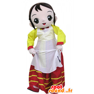 Μασκότ γυναίκα που φορά ένα πολύχρωμο φόρεμα - MASFR031211 - Γυναίκα Μασκότ