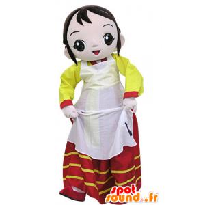 Mascotte de femme habillée d'une robe colorée