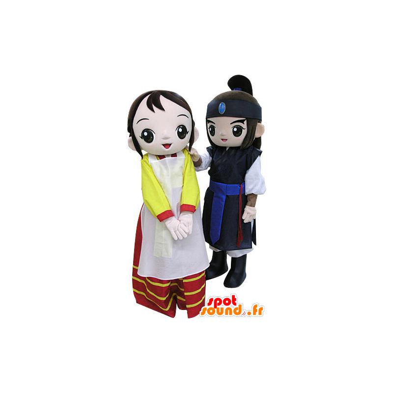 2 mascots, a warrior and a woman. mascots Couple - MASFR031212 - Mascots woman