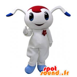 Weiße und blaue Kaninchen-Maskottchen mit roten Bohrmaschine - MASFR031219 - Hase Maskottchen