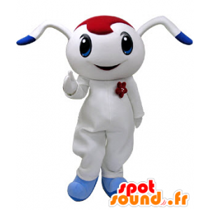 White and blue rabbit mascot with red drill - MASFR031219 - Rabbit mascot