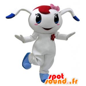Weiße und blaue Kaninchen-Maskottchen mit einem rosa Schleife auf dem Kopf - MASFR031220 - Hase Maskottchen