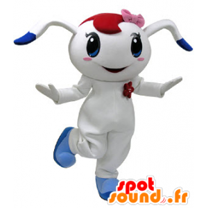 White and blue rabbit mascot with a pink bow on her head - MASFR031220 - Rabbit mascot