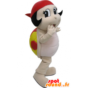 Mascot roten und gelben Marienkäfer. Turtle Maskottchen - MASFR031221 - Maskottchen-Schildkröte