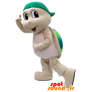 Mascot beige und grüne Schildkröte. Schildkröte Kostüm - MASFR031222 - Maskottchen-Schildkröte
