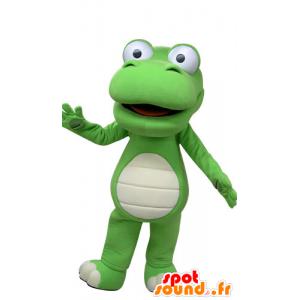 Groen en wit krokodil mascotte, reuze