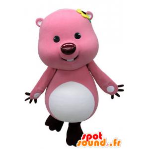 Rosa und weißen Biber-Maskottchen. Otter-Maskottchen - MASFR031227 - Biber Maskottchen