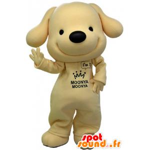 Mascotte de chien jaune et noir, très souriant - MASFR031231 - Mascottes de chien