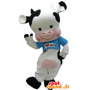 Black cow mascot, pink and white with a blue shirt - MASFR031232 - Mascot cow