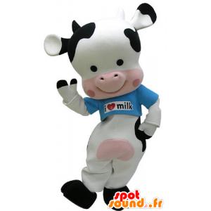 Vaca mascote preto, rosa e branco com uma camisa azul