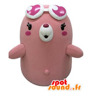 Pink og hvid bjørnemaskot med hjerteformede briller - Spotsound