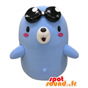 La mascota azul y blanco oso con gafas oscuras - MASFR031234 - Oso mascota