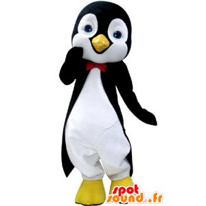 Mascot penguin black and white, with beautiful blue eyes - MASFR031237 - Penguin mascots