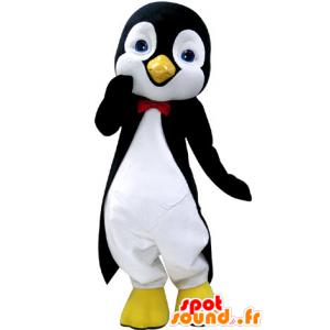 Mascotte de pingouin noir et blanc, avec de jolis yeux bleus - MASFR031237 - Mascottes Pingouin