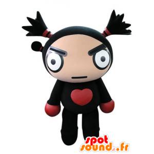 Svart dukke maskot og rødt utseende voldsom - MASFR031244 - Ikke-klassifiserte Mascots
