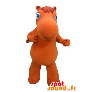 Cammello mascotte arancione con gli occhi azzurri
