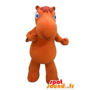 Kameel mascotte oranje met blauwe ogen