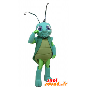 Cricket mascot, green, and blue insect - MASFR031256 - Mascots insect
