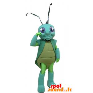 Cricket mascote, verde, inseto azul - MASFR031256 - mascotes Insect