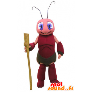 Ant mascot, pink and red cricket