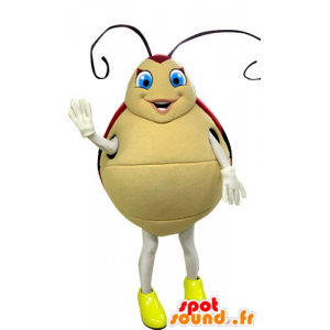 Mascot ladybug red and beige with blue eyes - MASFR031261 - Mascots insect