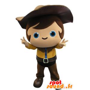 Mascotte d'enfant, de cow-boy avec une tenue jaune et marron - MASFR031264 - Mascottes Enfant