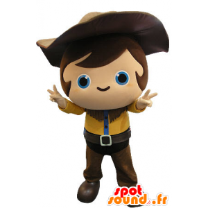 Maskottchen Kind Cowboy-Outfit mit einem gelben und braunen - MASFR031264 - Maskottchen-Kind