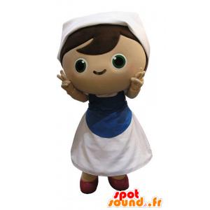Meisje mascotte gekleed als een huisvrouw. Schoonmaakster