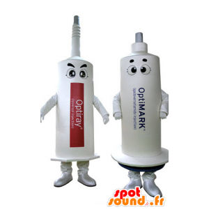 2 mascots of white needles. 2 syringes - MASFR031267 - Mascots of objects