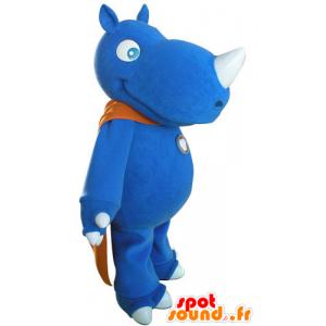 Mascotte rinoceronte blu con un mantello arancione