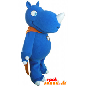 Mascotte blauwe neushoorn met een oranje cape