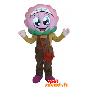 Flower mascot cabbage with pink overalls - MASFR031274 - Mascots of plants