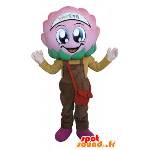 Flower maskot kål med rosa kjeledress - MASFR031274 - Maskoter planter