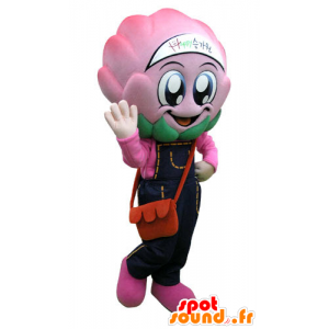 Cabbage mascot, pink overalls with artichoke - MASFR031275 - Food mascot