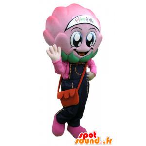 Mascotte de chou, d'artichaut rose avec une salopette - MASFR031275 - Mascotte alimentaires