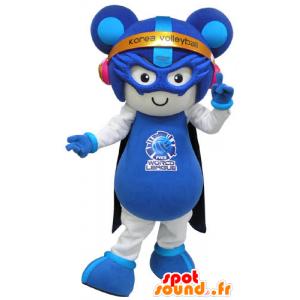 Mascotte de souris blanche et bleue en tenue futuriste - MASFR031279 - Mascotte de souris