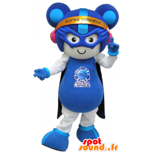 White and blue mouse mascot futuristic outfit - MASFR031279 - Mouse mascot