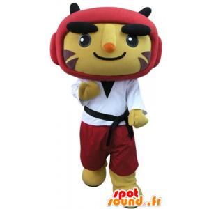Mascotte de tigre en tenue de taekwondo - MASFR031280 - Mascottes Tigre