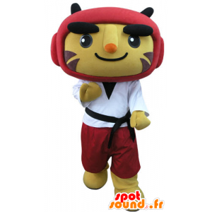 Tiger mascotte gekleed in taekwondo - MASFR031280 - Tiger Mascottes