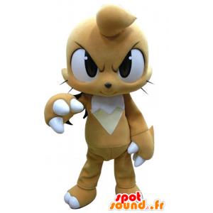 Mascot beige og hvid kanin hårdt udseende - Spotsound maskot