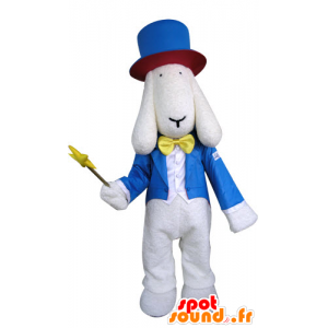 White dog mascot dressed in wizard costume - MASFR031295 - Dog mascots