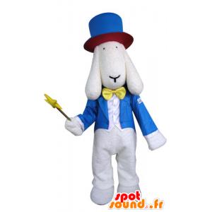 Mascote branco cão vestido no traje do feiticeiro - MASFR031295 - Mascotes cão
