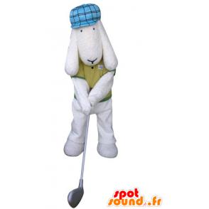 White dog mascot dressed golfer held - MASFR031296 - Dog mascots