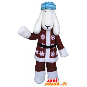Mascotte de chien blanc en tenue hivernale - MASFR031298 - Mascottes de chien