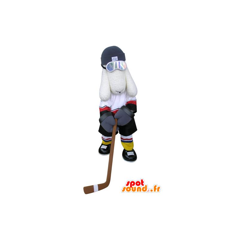 White dog mascot, hockey outfit - MASFR031299 - Dog mascots