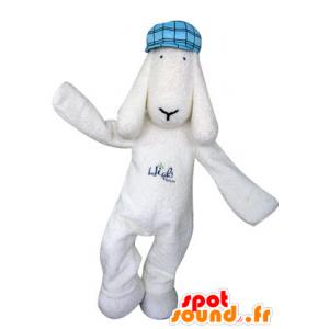 Mascotte witte hond met een blauwe baret - MASFR031300 - Dog Mascottes